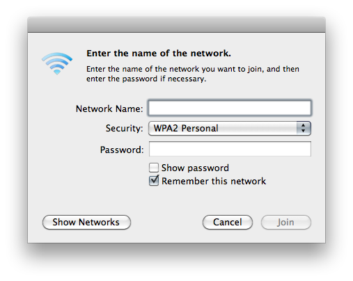Screenshot of Mac OS X 10.6 dialog for joining a wireless network